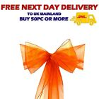 ORANGE ORGANZA SASHES Wider Chair Cover Decor Fuller Bow Anniversary Wedding UK