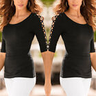 Women T-Shirt Solid Open Half Sleeve Hollow Jumper Blouse Casual Top Tee