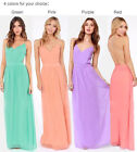 UK WOMENS SEXY LONG CHIFFON DRESS FORMAL BALL COCKTAIL PROM EVENING PARTY DRESS