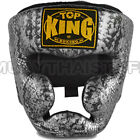 Top King Head Guard Muay Thai Boxing Snake Black Silver Leather Training