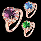 Hot Woman Girl Chic Rose Gold Plated Rhinestone Multi-Color Crystal Ring Gift