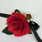 Wrist Corsage - Artificial Rose with Hydrangeas *Pick Your Color*