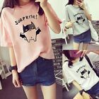 "Women Girl Korean Summer Short Sleeve T-Shirt Student Cute Top ""Suprise"" Blouse"