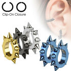 Surgical Stainless Steel IP Ear Cuff CLIP ON Earrings w Spikes (690)
