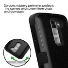 BLACK Tuff Hybrid Armor Dual Layer Hard Protective Case Cover LG G Stylo 2 PLUS