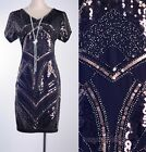 1920's Vintage Dress Gatsby CHARLESTON Clubwear Brown Sequin Art Nouveau RD 3286