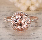 HALO Fashion 14K Rose Gold 9mm Round Morganite PAVE SI Diamond Engagement Ring