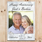 Personalised Silver 25th Wedding Anniversary PHOTO Poster Party Banner N74