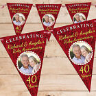 Personalised Ruby 40th Wedding Anniversary PHOTO Flag Banner Bunting - N61