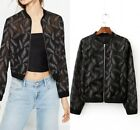 New Womens Floral Premium Embroidered Organza See Through Bomber Jacket Coat SML