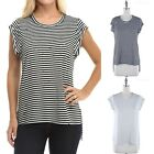 Striped Round Neck Short Sleeve High Low Hem Top with Cut Out Front Detail S M L