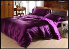 VIOLET PURPLE SOLID SATIN SILK 4PC(DUVET COVER SET+FITTED SHEET) IN ALL USA SIZE