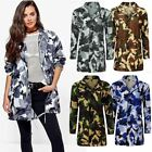 Womens Ladies Festival Camouflage Hooded Mac Outdoor Fishtail Parka Jacket Coat