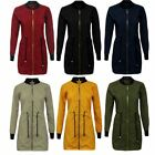 Ladies Long Sleeve Zip Up Tunic Longline Bomber Jacket MA1 Drawstring Top Coat