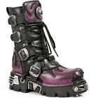 New Rock 591-S3 Purple Flame Metal Black 100% Leather Heavy Punk Gothic Boots