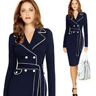 New Women Tailored Collar Tunic Dress Spring Autumn Long Sleeve Career Dresses