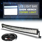 "7000K 240W 42"" Curved Spot Flood Combo LED Light Bar Car SUV 4WD Truck + Wiring"