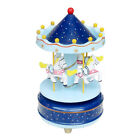 Wooden Carousel 4 Horse Merry-Go-Round Wind-Up Mechanical Music Box