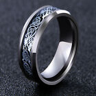 Men's Silver Celtic Dragon Titanium Stainless Steel Wedding Band Rings Stylis