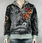 Ed Hardy men's Cat Out Of HELL Platinum Hoodie Stones