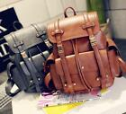black women's pu leather large casual travel double strap backpack bag stylish