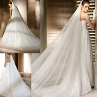 White/Ivory 3M Soft Wedding Bridal Long Veil Church Cathedral Length With Comb