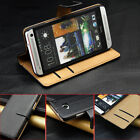 Genuine PU Leather Wallet Card Holder Flip Case Cover For HTC ONE M7 M8 Mini M9