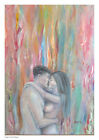 Couple embrace, lovers, passion, nude, painting, wall art, art decor, man, woman
