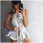 Women Summer Beach Celeb Sleeveless Mini Evening Party Casual  Jumpsuit Size6-16