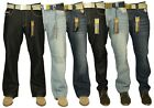 MENS BRAND NEW DENIM JEANS BOOTCUT & STRAIGHT LEG STYLE IN BLACK BLUE WASH 30-42