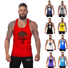 The Punisher Men Bodybuilding Tank Top Gym Singlet Fitness Sport BACK Racer snug