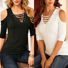 S-3XL Women Short Sleeve Lace UP T-Shirt Cold Off Shoulder Top Casual Blouse Tee