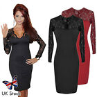 Elegant Women Sexy Lace V neck Pencil Mdii Tunic Dress Cocktail Evening Party