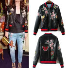 Faux Leather Animal Floral Print Embroidery Badged Short Bomber Jacket Baseball