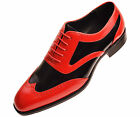 Amali Men's Two-Tone Black and Red Smooth Oxford Dress Shoe:Style Phil-212
