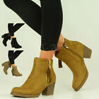 BRAND NEW WOMENS LADIES ANKLE BOOTS MID BLOCK HEEL SIDE ZIP SHOES SIZE UK 3-8