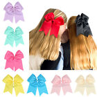 8 Inch Girls  Cheer Bow Solid Color Cheerleading Elastic Band Grosgrain Ribbon