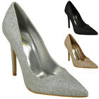 WOMENS PARTY HIGH STILETTO HEEL POINTED TOE GLITTER GOING OUT COURT SHOES SIZE