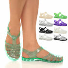 WOMENS LADIES FLAT RUBBER FISHERMAN RETRO 90S JELLIES GLADIATOR SANDALS SIZE