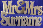 wedding gift personalised mr&mrs surname table decoration freestanding sign MDF,