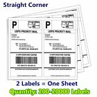200-20000 8.5x5.5 Shipping Mailing Labels Half Sheet Self Adhesive for UPS FedEX