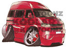 KOOLART CARTOON TEE SHIRT 1593 VW TRANSPORTER CAMPER VAN RED