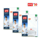 Men's Short sleeves Undershirts White BYC1903 Cotton 100% 3-Pack Innerwear
