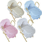 Dolls Moses Basket with Stand Included -  Beautiful Broderie Anglaise Pattern