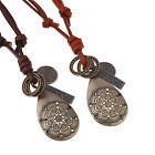 Women's Punk Leather Hollow Flower Water Pendant Long Necklace Jewelry