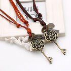 Women's Lady Girl Leather Hollow Flower Key Pendant Sweater Chain Necklace
