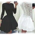 Women Lace Long Sleeve Retro Skater Evening Cocktail Party Wedding Vintage Dress
