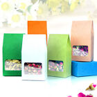 Embossing Side Gusset Kraft Paper Bags With Window Cookie Nut Food Storage Pouch