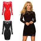 Women's Summer Backless Long Sleeve Lace Evening Party Cocktail Mini Dress