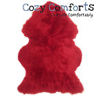 British Large Sheepskin Rug with Extra Thick Wool / Red